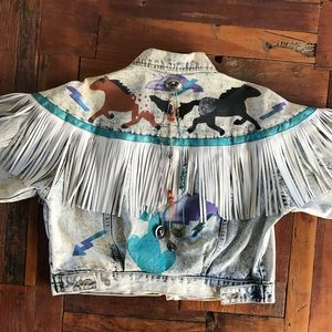 Vintage Hand Painted Fringe Tassel Denim Jeacket